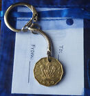 Coin Keyring Birthday Gift plus bag & tag: choose coin & year (1951-1983) lot 1c