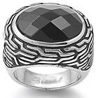 Stainless Steel Checkerboard Oval Black Onyx CZ Celtic Braid Tribal Ring 5-10