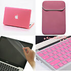 Pink Rubberized Hard Case+Keyboard Cover+Bag For Macbook Air Pro 11 13 15 inch