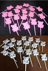 Baby Shower 18 Blue or Pink teddy plastic cake picks FREE POSTAGE