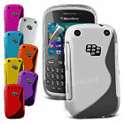 S Line Wave Gel Skin Case Cover & Screen Guard For Blackberry 9320 Curve