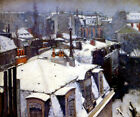 VIEW OF ROOFTOPS IN THE SNOW PARIS 1878 FRENCH PAINTING BY CAILLEBOTTE REPRO