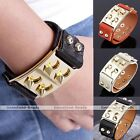 Punk Mens Spike Rivet Stud Leather Bangle Cuff Button Clasp Wristband Bracelet