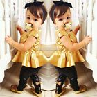 Baby Girl Suit Shirt Dress + Leggings Pants Casual Short Sleeved 2 Pieces Gold S