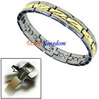 MEN'S TWO TONE MAGNETIC POWER TITANIUM GOLF BRACELET T1