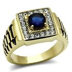 New Two Tone Gold IP Stainless Steel Dark Sapphire Blue Men's Ring - Sizes 8-13
