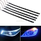 Car Motor 5 x15LEDs Vehicle Flexible Waterproof Strip Light Blue/White 12V 30cm