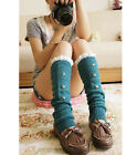 Crochet Lace Rivet Wool Cotton Knit Leg Warmers Knee High Leggings Boot Sock