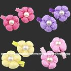 Pair Cute Lovely Pearl Sun Flower Fabric Hair Clips for Girl Baby Kids Children