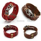 Punk Braided Real Leather Tribal X Surfer Bracelet Bangle Wristband Cuff Wrap