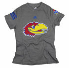 Adidas NCAA College Youth Girls Kansas Jayhawks T-Shirt - Gray