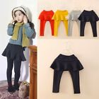 2-7T 1Pc Kids Baby Girl Toddler Pantskirt Culotte Leggings Skirt Solid Color