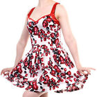 Banned Apparel Red Rose Floral 50's Style Strappy Red Trim On White Mini Dress