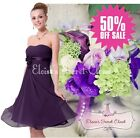 BNWT RENEE Corsage Aubergine Purple Chiffon Short Knee Bridesmaid Dress 6 - 18