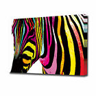 EZ0912 LARGE MULTI COLOURED ZEBRA CANVAS PRINT