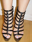 Sexy high heel cage black sandals back zipper
