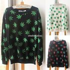 Womens Fashion Girls Hemp Leaf Casual Long Sleeve Shirt Crewneck Sweatshirt Tops