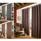 Archie Fully Lined Eyelet Curtains - Ready Made Heavy Tartan Check Curtain Pair