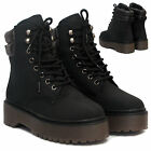 Womens Combat Ladies Army Worker Military Ankle Boots Punk Goth Shoes Size 3-8