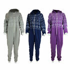 J10 LADIES HOODED ZIP UP FLEECE WARM FAIRISLE ONSIE ALL IN ONE PYJAMA JUMPSUIT