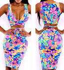 Women Sexy Bodycon Floral Cross Bandage Dress Party Clubwear Skirt Cocktail