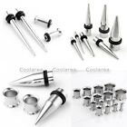 4pc Surgical Steel 8g-00g Spike Taper Double Flared Ear Plug Tunnel Expander Set