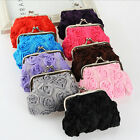 Girl 3D Rose Flower Wallet  Change Purse Coin Key Buckle Pouch Bag Bright color