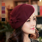 YH0010 Spring autumn fashion Womens bow beret cap New British style ladys hat