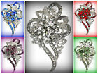 QUINCEANERA 15TH BIRTHDAY GIFT CRYSTAL FLOWER RIBBON CORSAGE BROOCH PIN~U PICK