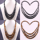"New Free Shipping Natural Stone Agate Tigereye Round Beads Necklace 22"" E489-490"