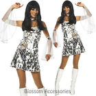 K5 60s 70s Go Go Retro Hippie Girl Dancing Groovy Party Silver Disco Costume