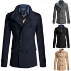 NTW Men Stock Long Winter Warm Double Breasted Peacoat Coat Jacket Recent