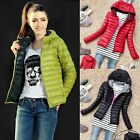 Lady Casual Winter Light Weight Outerwear Hooded Slim Down Jacket Coat Overcoat