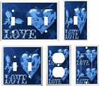 LOVE BUTTERFLY HEART  BLUE SHADES LIGHT SWITCH COVER PLATE OR OUTLET
