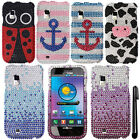 For Samsung Fascinate i500 Galaxy S DIAMOND BLING HARD Case Phone Cover + Pen