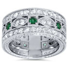 2.45CT Vintage Diamond & Emerald 3/4 Eternity Ring 9.5MM Wide 14K White Gold