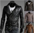 Modern Slim Fit Punk Mens Stylish Synthetic Leather Biker Jacket Coat Blazer Fit