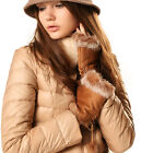 Ladies Fingerless Faux Fur Suede Gloves Winter Womens Snug Hand Warmers Mittens