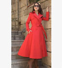 Fashion Women's Casual Double Breasted Trench Coat Belts Red Long Sexy Outerwear