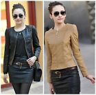 Women Biker Motorcycle Round Collar Slim Fit Faux PU Leather Casual Coat Jacket