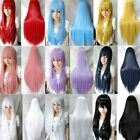 80cm Long Straight Cosplay Fashion Wig Multicolor heat resistant Full Wigs HUK