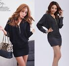 Women Fashion Batwing Sleeve Zipper V Neck Lady Package Hip Stretch Short Dress