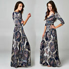 BOHEMIAN Blue Paisley Print MAXI DRESS Jersey Wrap LONG Skirt vtg BOHO S M L