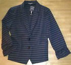 NWT EXPRESS $98 Gray/Black Ponte Knit Striped Jacket Ruched Sleeve Size Medium!