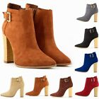 LADIES FAUX VELVET SUEDE HIGH THICK HEELS BUCKLE WORK ANKLE BOOTS SIZE UK 2 - 9