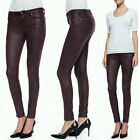 $198 NWT 7 SEVEN FOR ALL MANKIND JEANS ANKLE SKINNY BURGUNDY COATED JEATHER