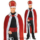 CL129 King Velvet Robe & Crown Adult Costume Kit Fancy Dress Royal Party Costume