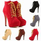 2014NEW WOMENS FAUX VELVET HIGH HEELS LACE UP STILETTO ANKLE BOOTS SHOES UK 2-9