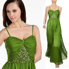 Donna Bella Maxi Sweetheart Chiffon Evening Party Dress Gown Maxi Green Dress