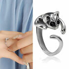 New Lovely Womens Cute Silver Cat Shaped Ring With Black Crystal Eyes Love Gift